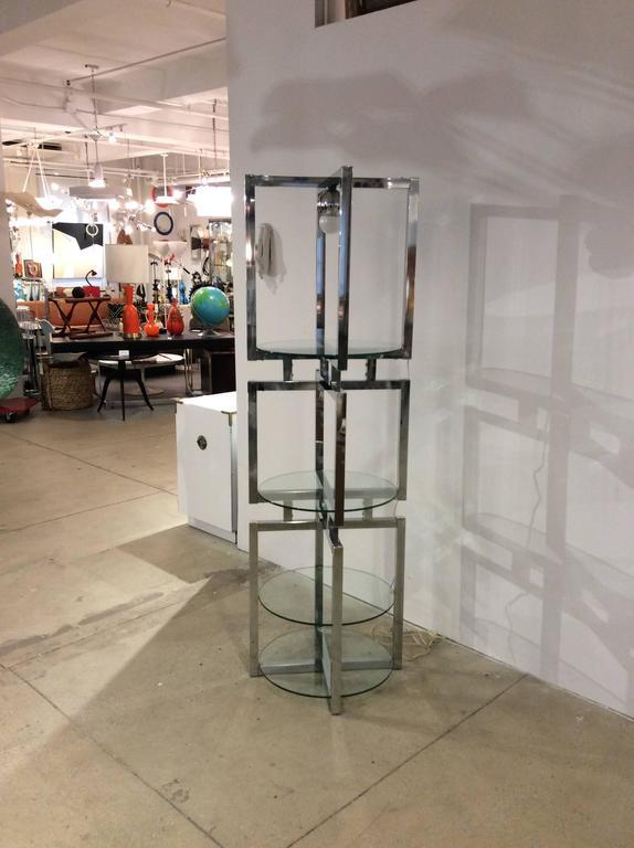 Geometric Chrome Tower Etagere by Milo Baughman For Sale 1