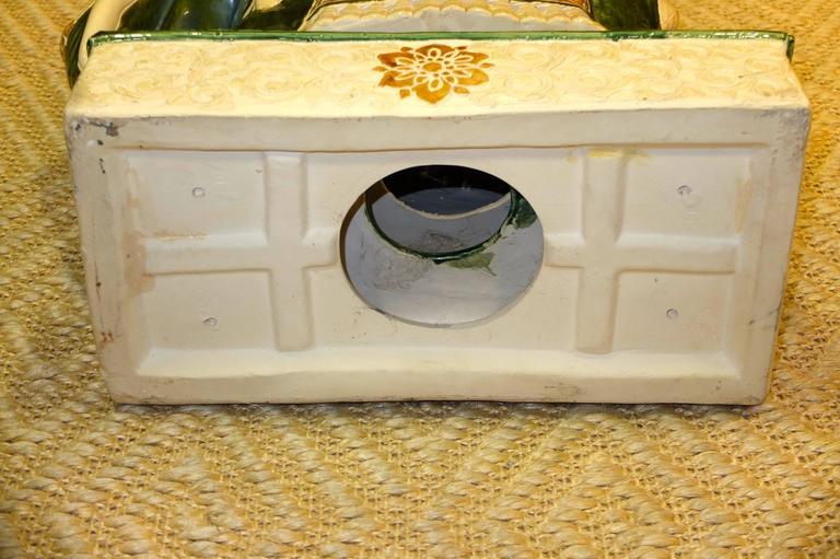 Vintage Glazed Ceramic Elephant Garden Stool For Sale 2