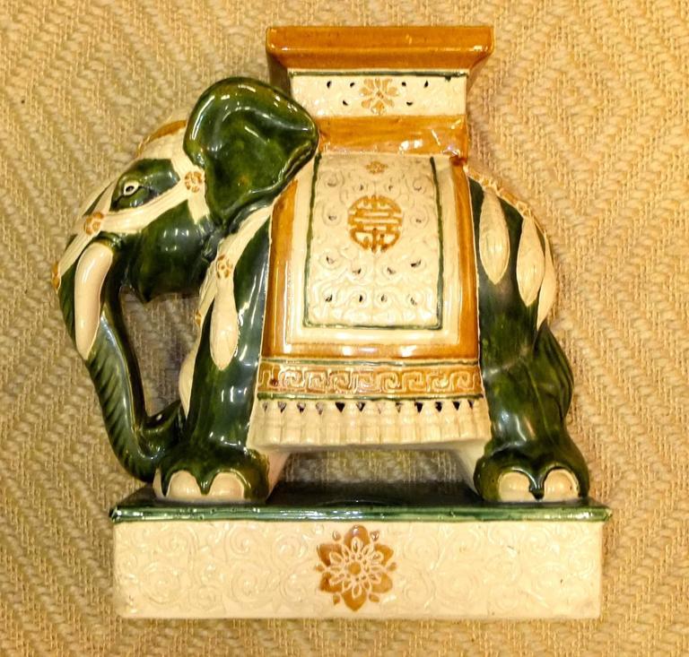 Vintage Glazed Ceramic Elephant Garden Stool For Sale 4