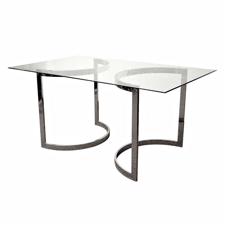 Milo baughman chrome and glass dining table at 1stdibs for Dining room table 32 wide