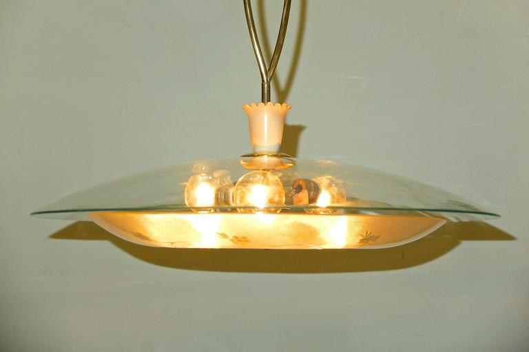 1950s Italian Glass UFO Pendant with Twisted Brass Stem For Sale 1