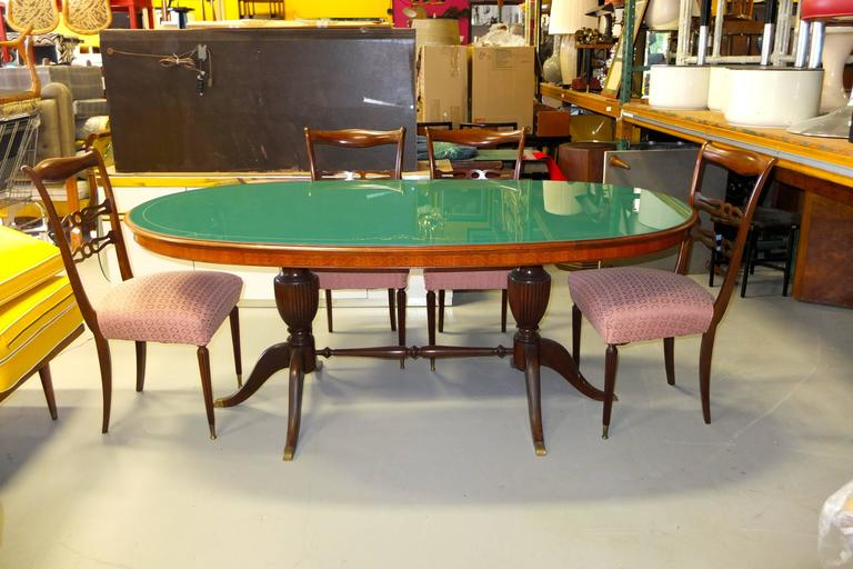 1950s Italian Oval Rosewood Dining Table with Green Glass Top 10