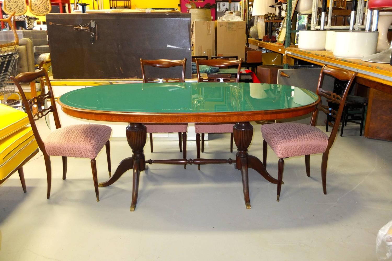 1950s italian oval rosewood dining table with green glass top for sale