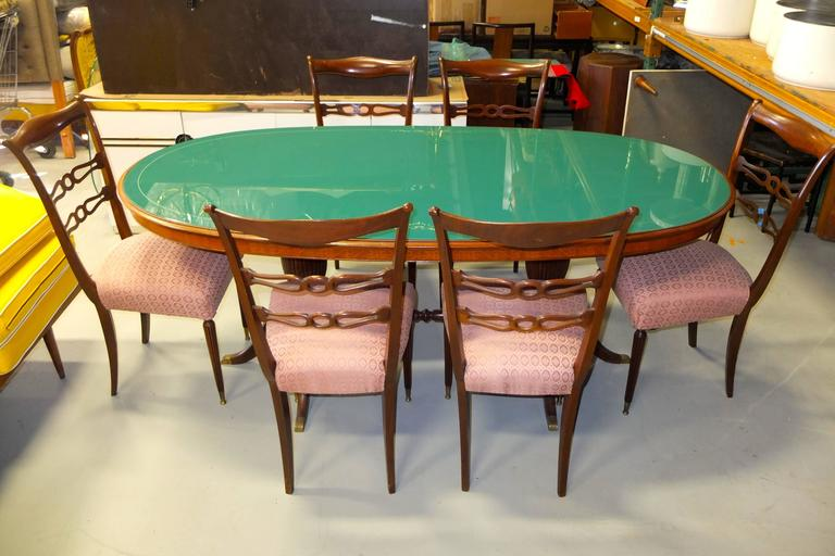1950s Italian Oval Rosewood Dining Table with Green Glass Top 4
