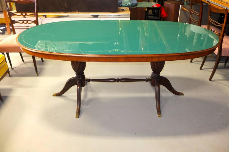 1950s Italian Oval Rosewood Dining Table with Green Glass Top 2