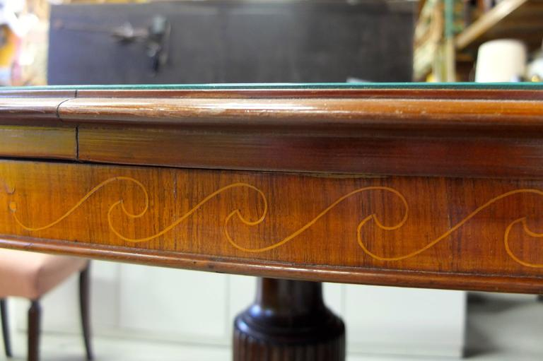 1950s Italian Oval Rosewood Dining Table with Green Glass Top 9