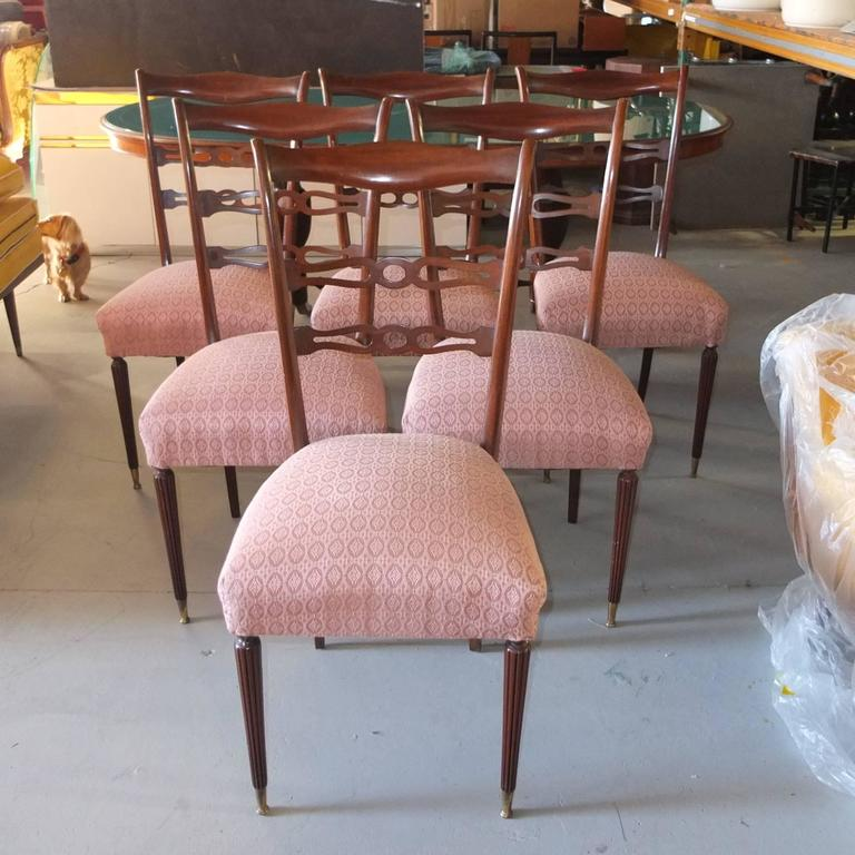 Set of Six 1950's Italian Dining Chairs In Good Condition For Sale In Hingham, MA