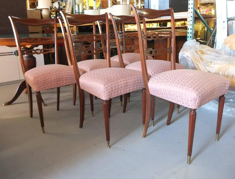 Walnut Set of Six 1950's Italian Dining Chairs For Sale
