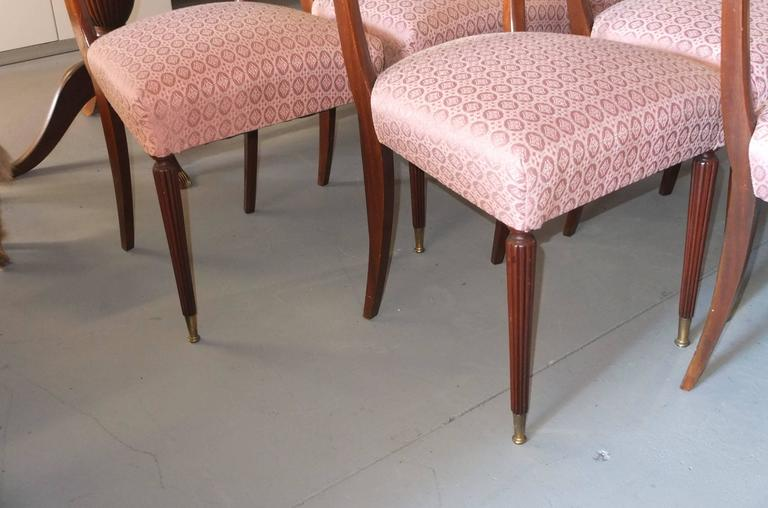 Mid-Century Modern Set of Six 1950's Italian Dining Chairs For Sale