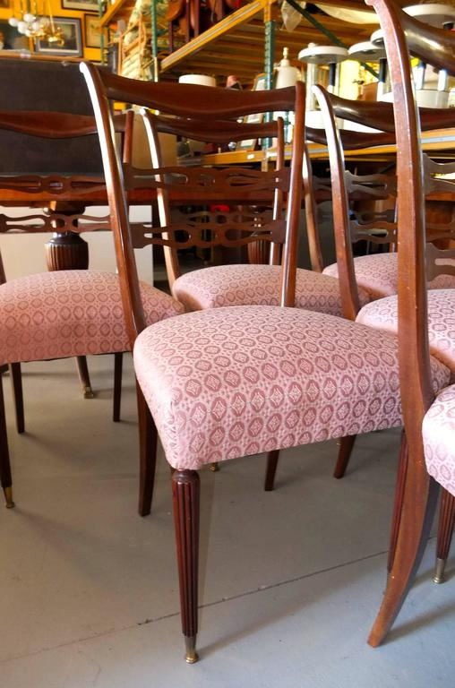 Mid-20th Century Set of Six 1950's Italian Dining Chairs For Sale