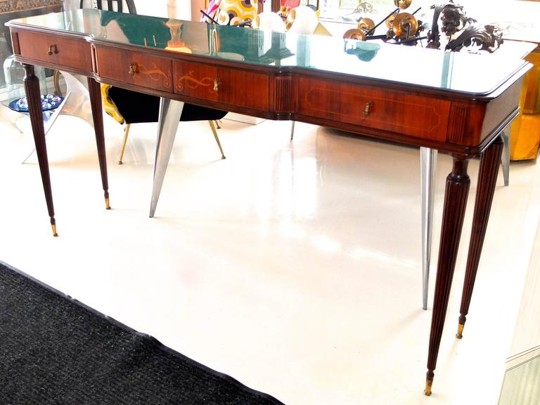 Paolo Buffa Style Rosewood and Mahogany Console Table 2