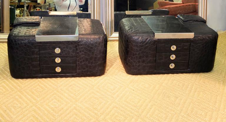 Pair of 1970s Leather & Stainless Steel Bedside Cabinets 10