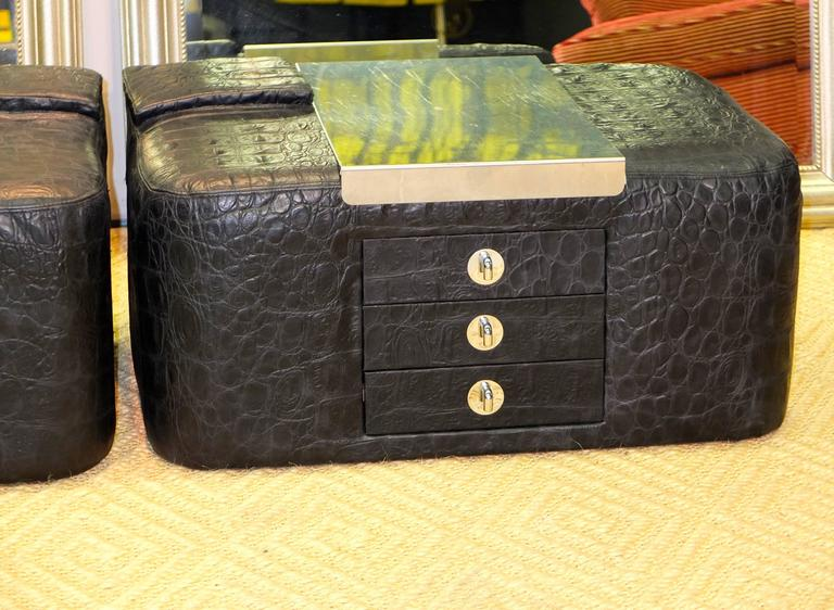 Pair of 1970s Leather & Stainless Steel Bedside Cabinets 6