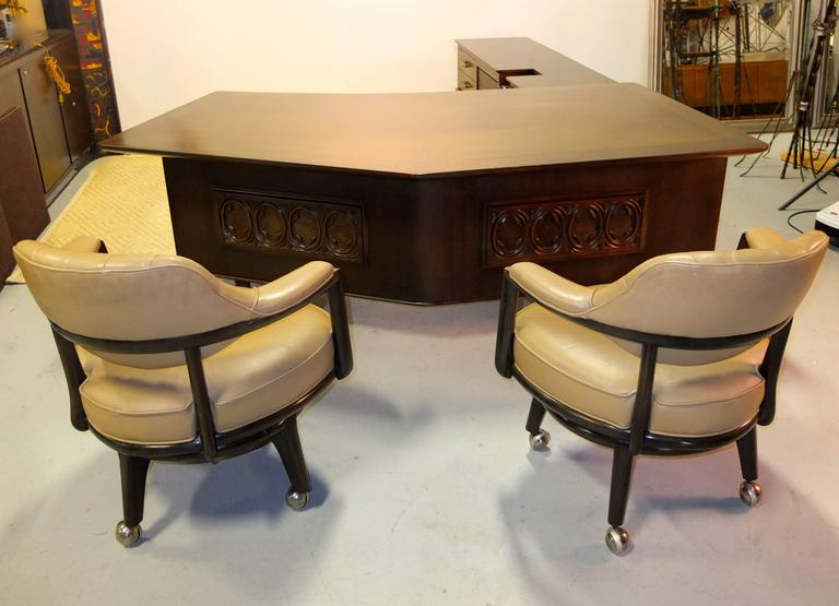 Monteverdi-Young Executive Boomerang Desk with Return and Guest Chairs For Sale 1