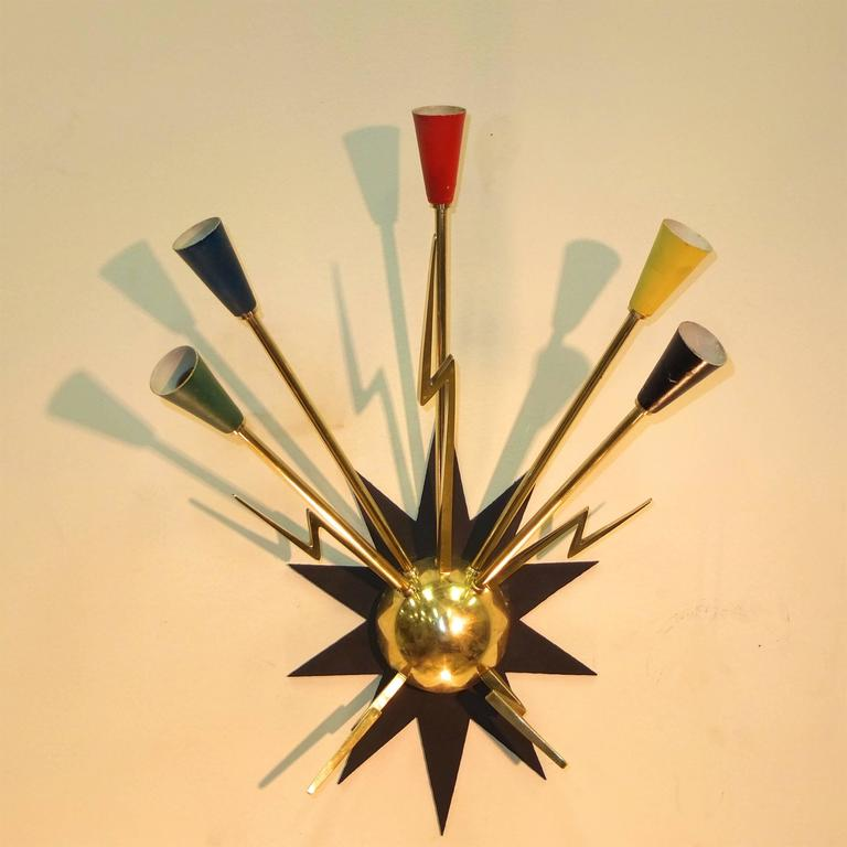 Mid-Century Modern Pair of French 1950s Sputnik Sconces from Casino de Clichy For Sale