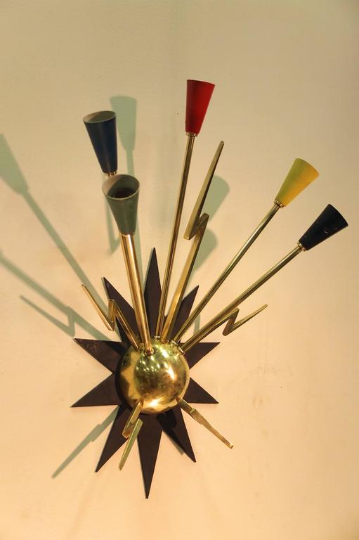 Aluminum Pair of French 1950s Sputnik Sconces from Casino de Clichy For Sale