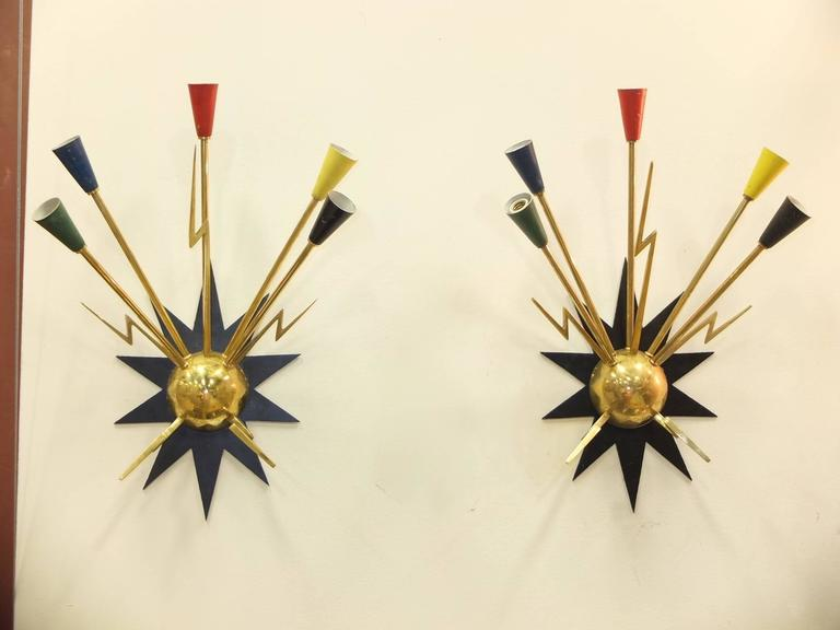 Enameled Pair of French 1950s Sputnik Sconces from Casino de Clichy For Sale