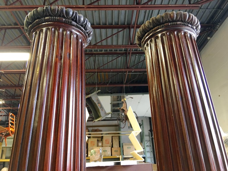 Pair of Antique Mahogany Columns 2
