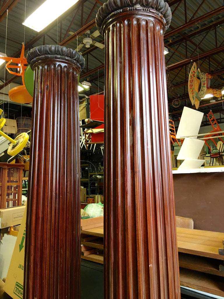 Pair of Antique Mahogany Columns 5
