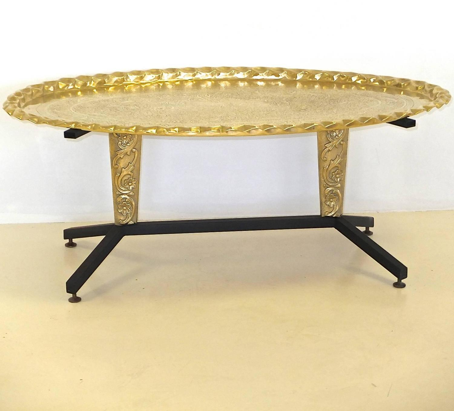 1960s italian coffee table with elliptical brass tray top for Coffee table 40 x 24