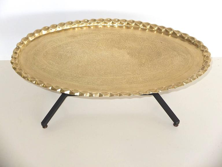Mid-20th Century 1960s Italian Coffee Table with Elliptical Brass Tray Top For Sale
