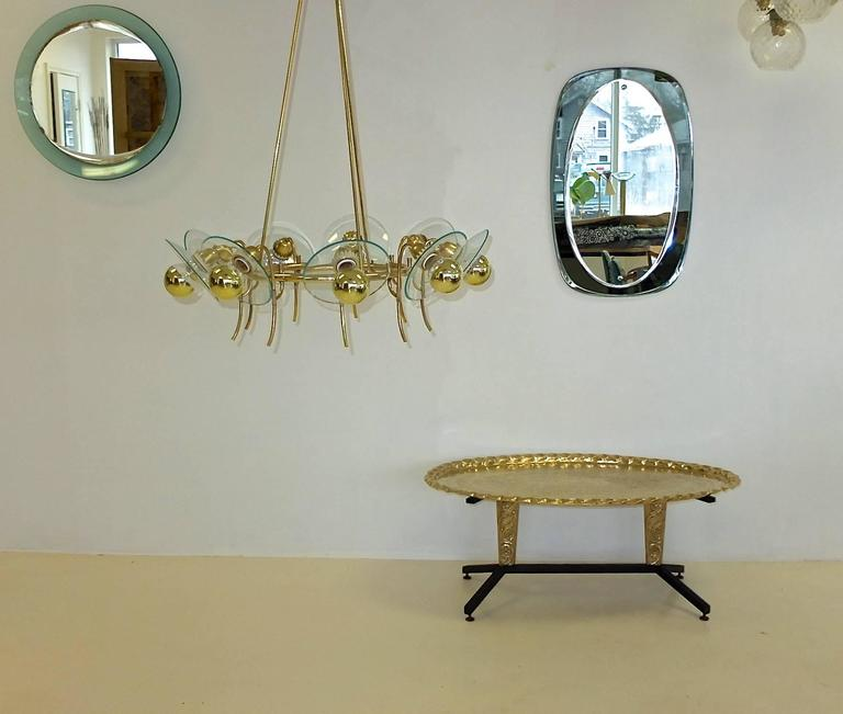 1960s Italian Coffee Table with Elliptical Brass Tray Top For Sale 5