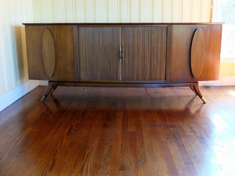 Mid-20th Century 1950s Walnut Italian Sideboard by Adolfo Genovese For Sale