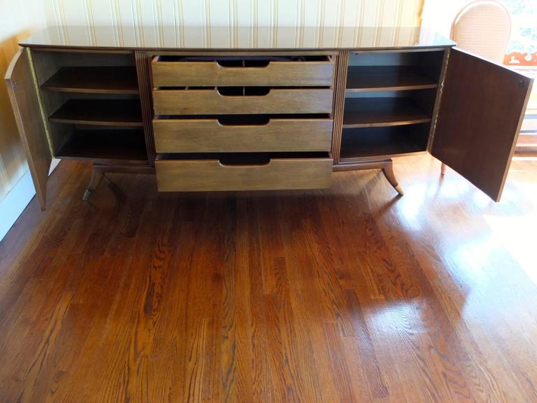Brass 1950s Walnut Italian Sideboard by Adolfo Genovese For Sale