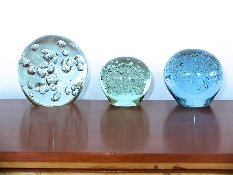 vintage glass ball paperweights with controlled bubble inclusions