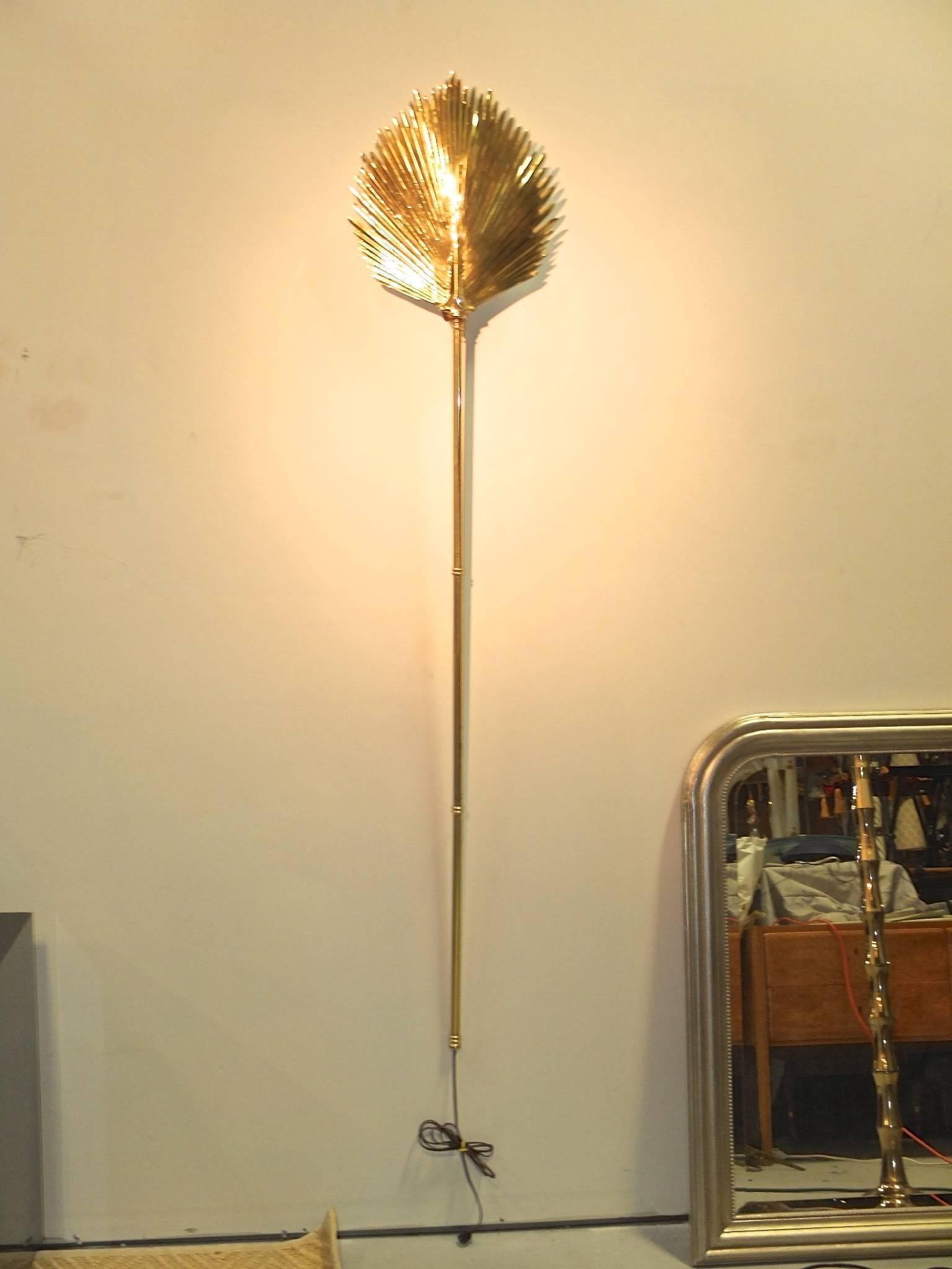 Wall-Mounted Brass Palm Frond Lamp in the Style of Tommaso Barbi For ...