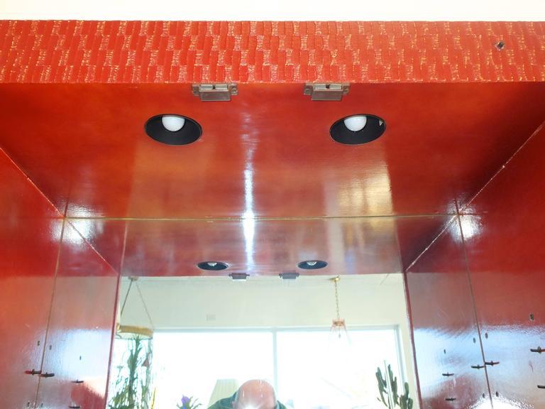 Grasscloth Charak Modern Bar Cabinet For Sale