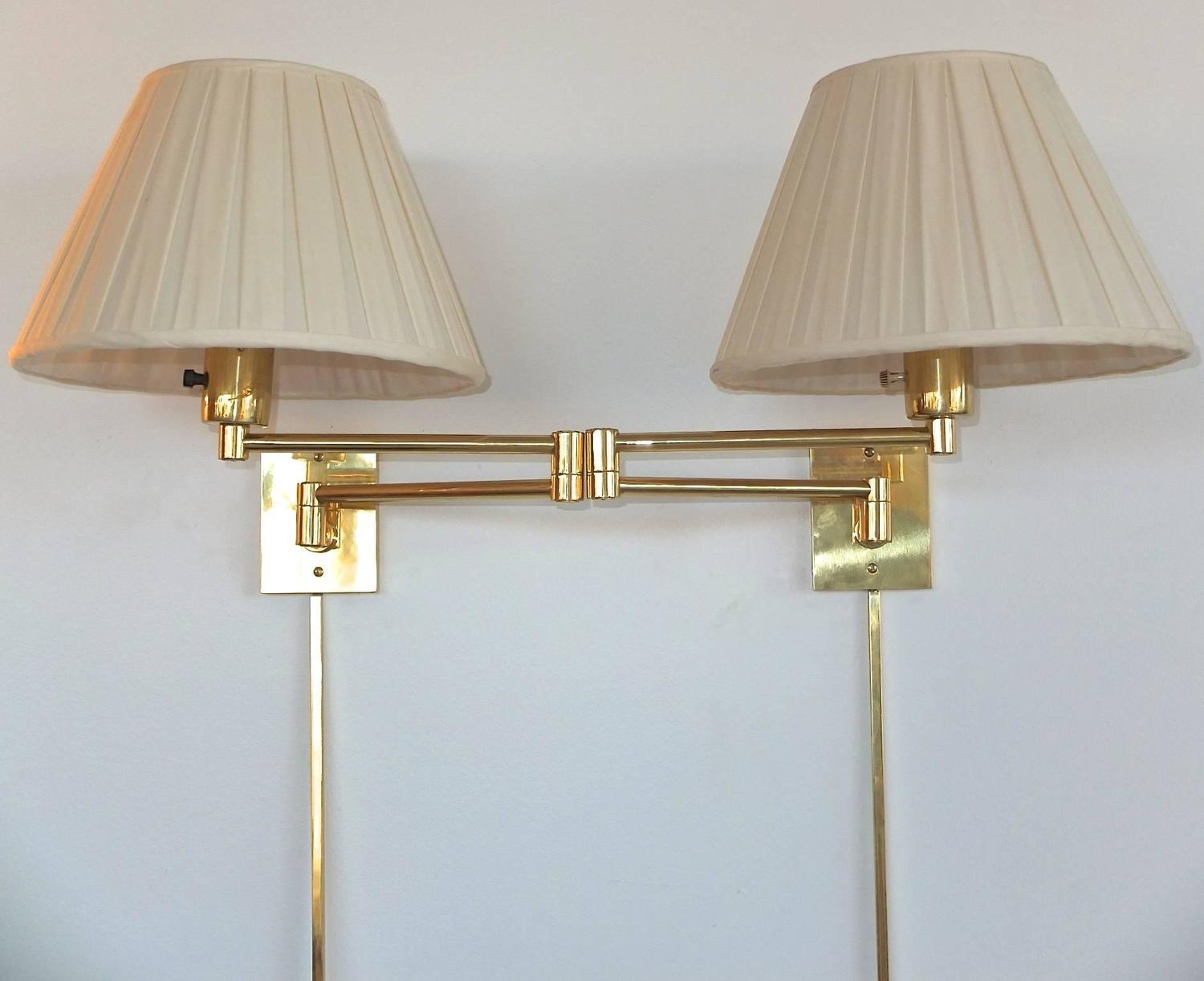 pair of georg w hansen brass 1706 double swing arm wall lamps for sale at 1stdibs. Black Bedroom Furniture Sets. Home Design Ideas