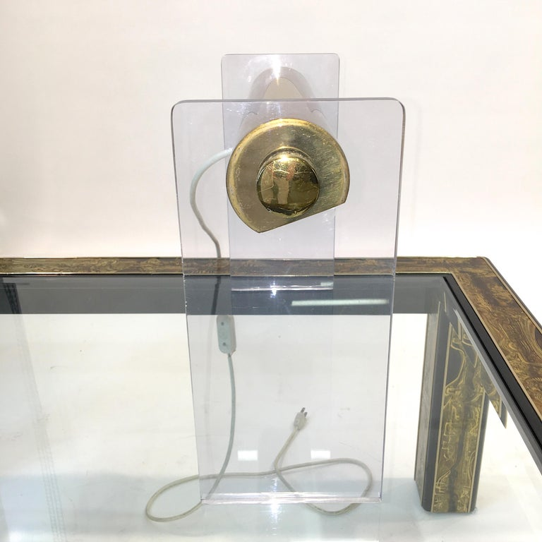 Pierre Cardin Lucite & Brass Table Lamp For Sale 2