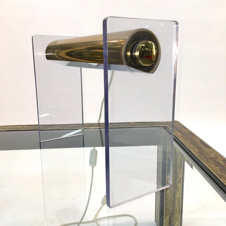 Pierre Cardin Lucite & Brass Table Lamp For Sale 3