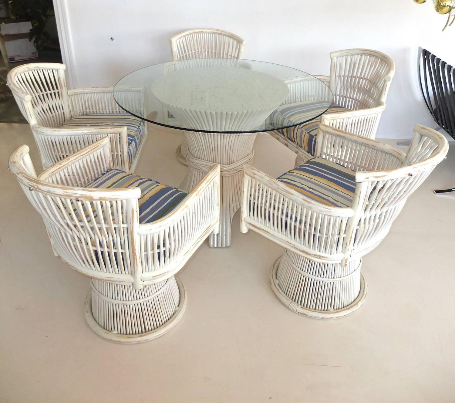 bamboo sheaf dining table and five swivel chairs for sale at 1stdibs
