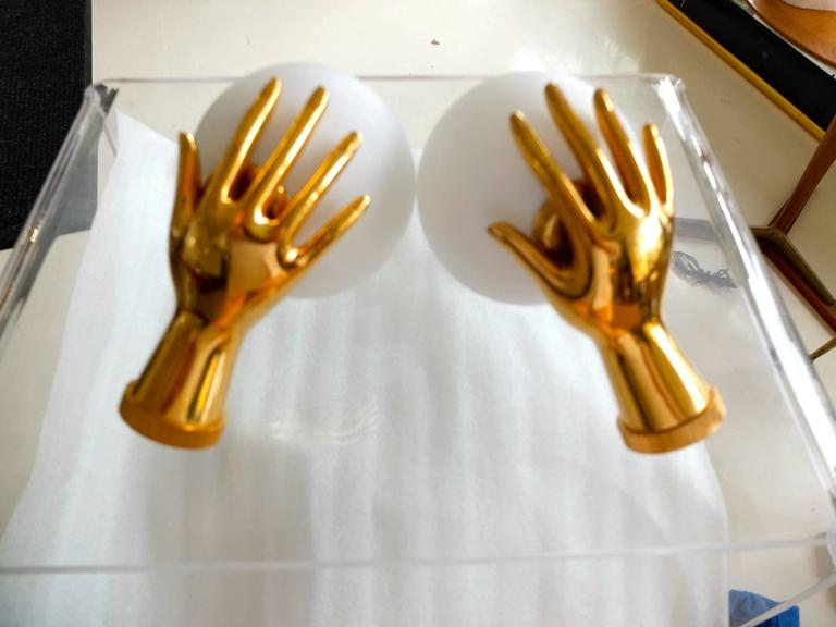 Mid-Century Modern Pair of Arlus Gilt Brass Hands with Opaline Globes Sconces For Sale