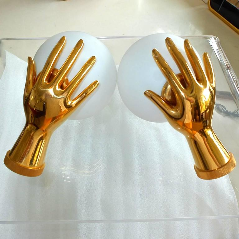 Pair of Arlus Gilt Brass Hands with Opaline Globes Sconces For Sale 2