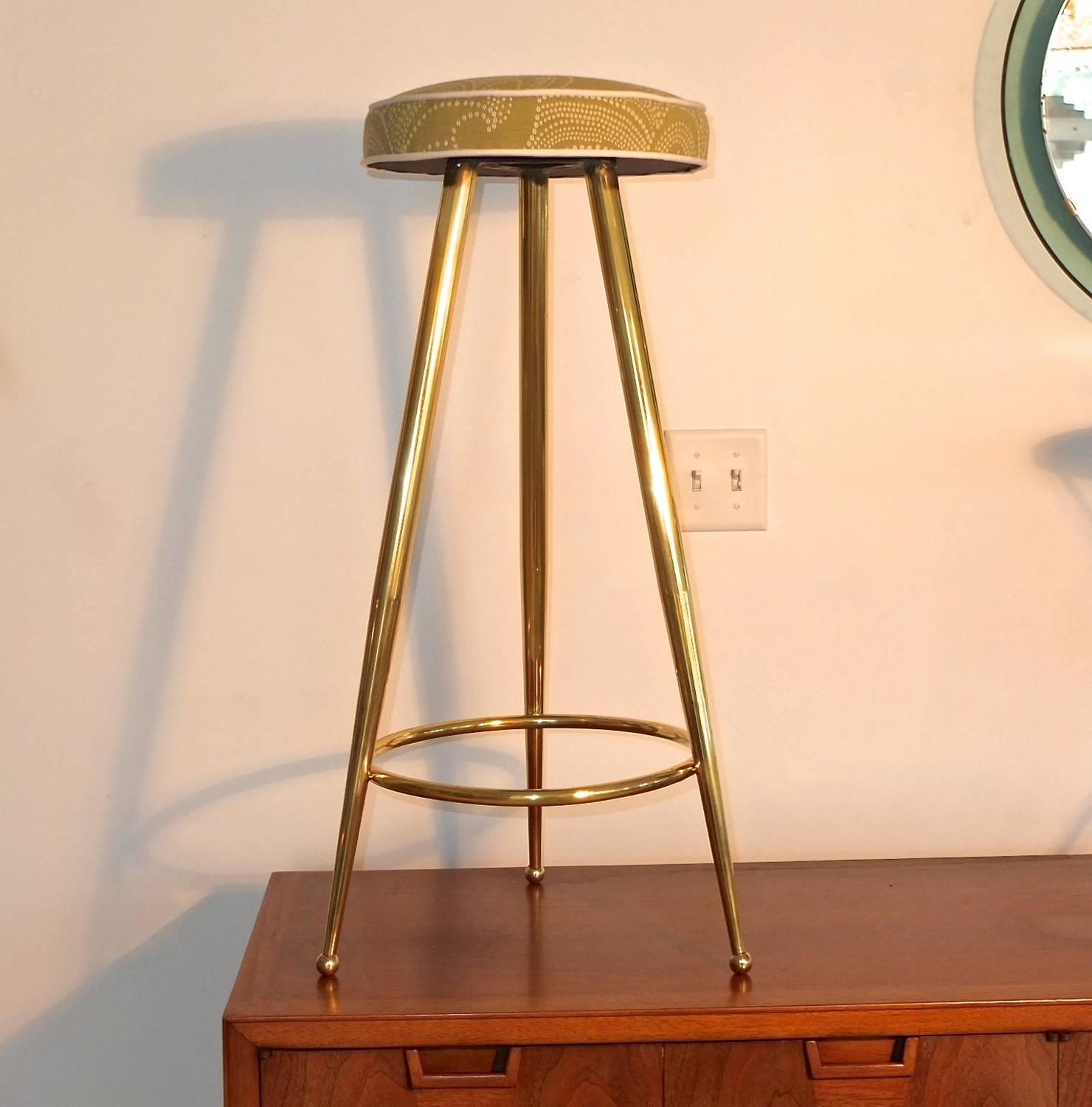 Pair Of 1950s Italian Brass Tripod Bar Stools For Sale At