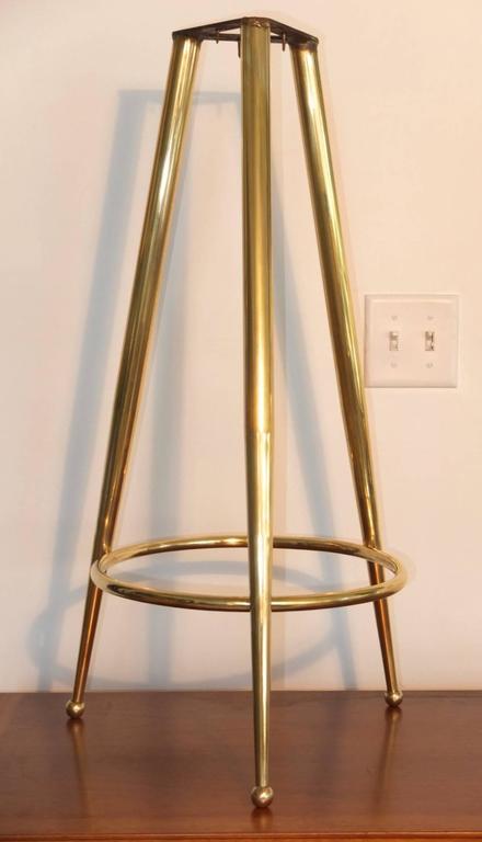 Pair of 1950s Italian Brass Tripod Bar Stools 6