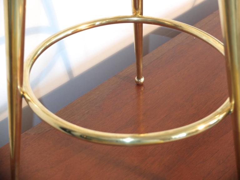 Pair of 1950s Italian Brass Tripod Bar Stools For Sale 5