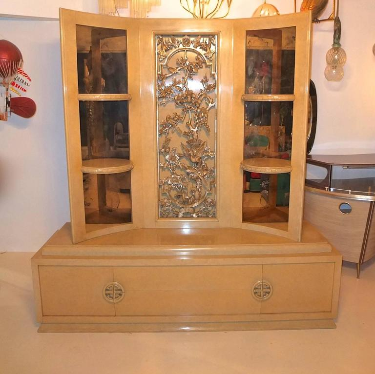 Carved James Mont Console Cabinet For Sale