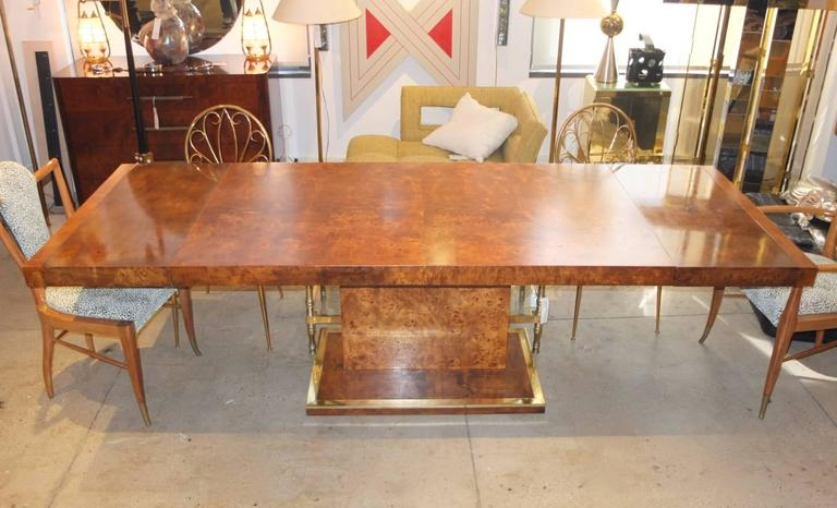 Beautifully Red Sculptural 1970s Elm Burl Wood Rectangular Dining Table On An Architecturally Dramatic Single Slim