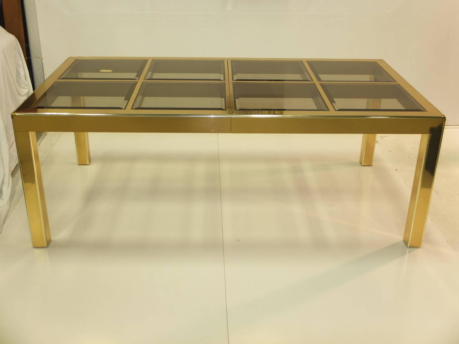 Mastercraft brass and smoked beveled glass extendable for Most beautiful dining room tables