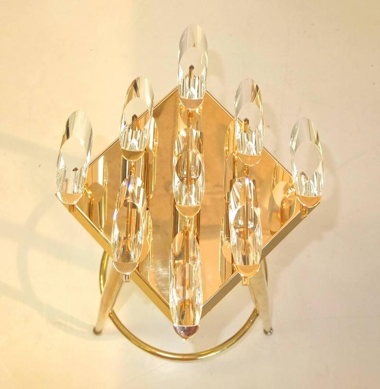 Pair of Crystal and Gold-Plated Brass Sconces by Stilkronen For Sale at 1stdibs
