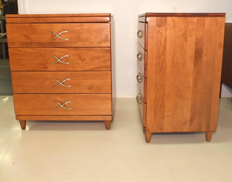 Pair of Paul Frankl Four-Drawer Chests for Brown Saltman 4