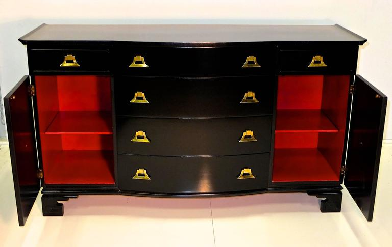 Mid-Century Modern James Mont Style Black Lacquer with Brass Pagoda Form Sideboard For Sale