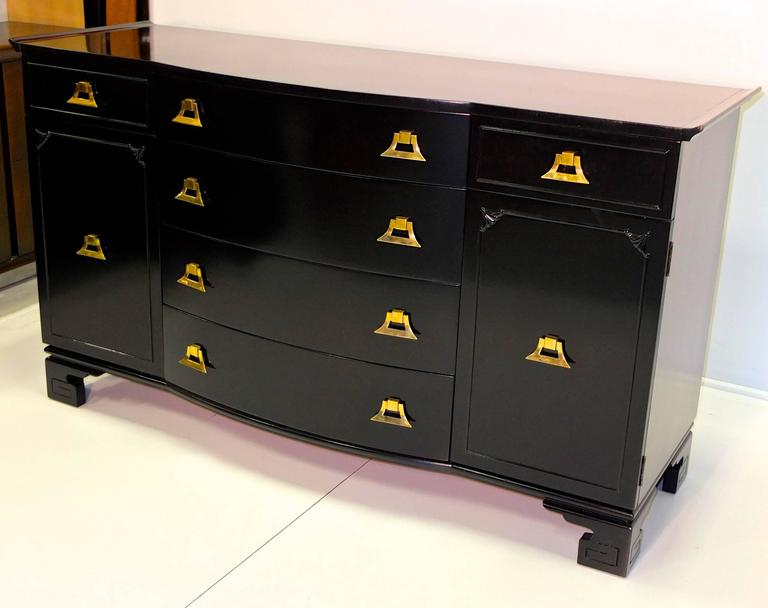 American James Mont Style Black Lacquer with Brass Pagoda Form Sideboard For Sale