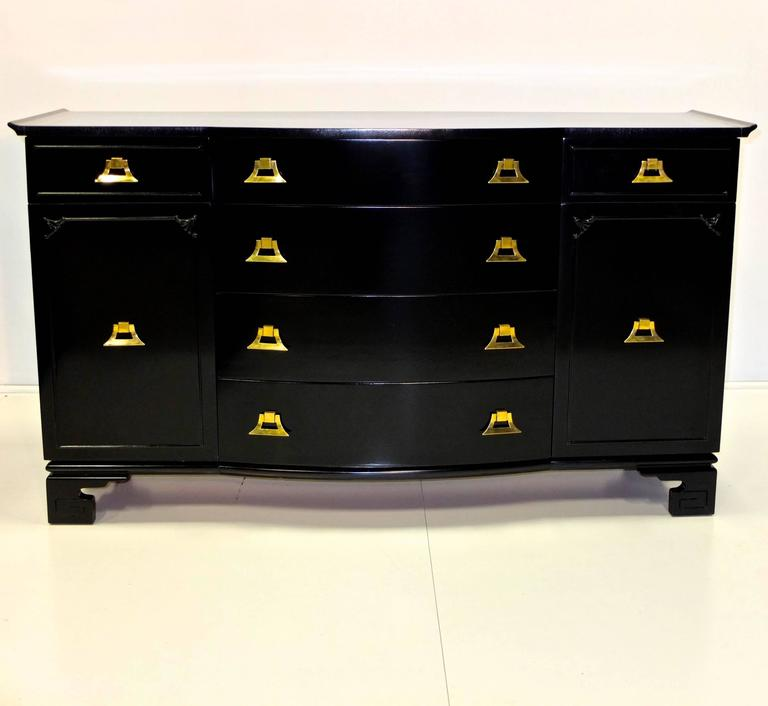 James Mont Style Black Lacquer with Brass Pagoda Form Sideboard For Sale 4