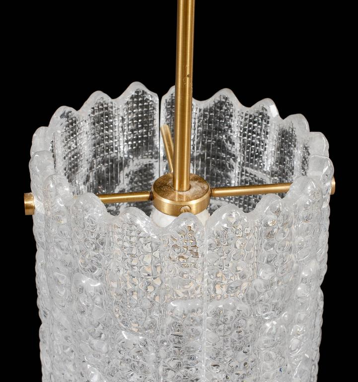 Mid-20th Century Carl Fagerlund for Orrefors Sweden Crystal Pendant For Sale