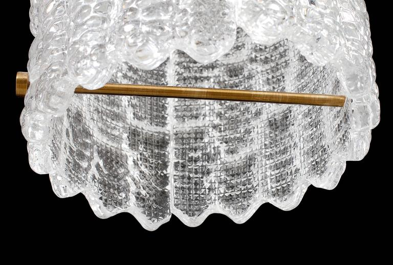 Brass Carl Fagerlund for Orrefors Sweden Crystal Pendant For Sale
